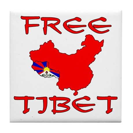 Free Tibet with Map Tile Coaster