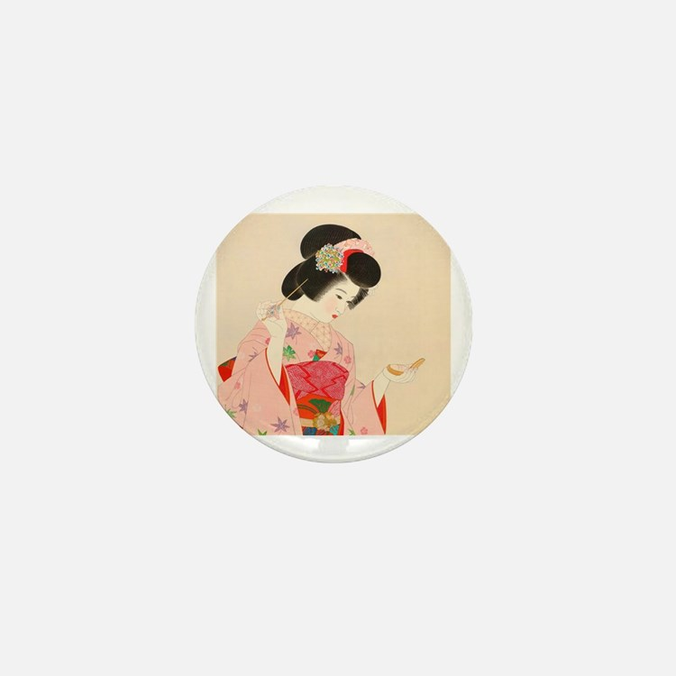 Cute Geisha Mini Button