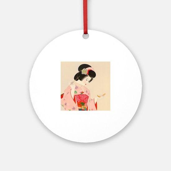 Cute Geisha Round Ornament
