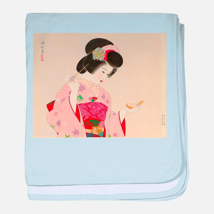 Vintage Japanese Geisha Lady Woman Gi baby blanket