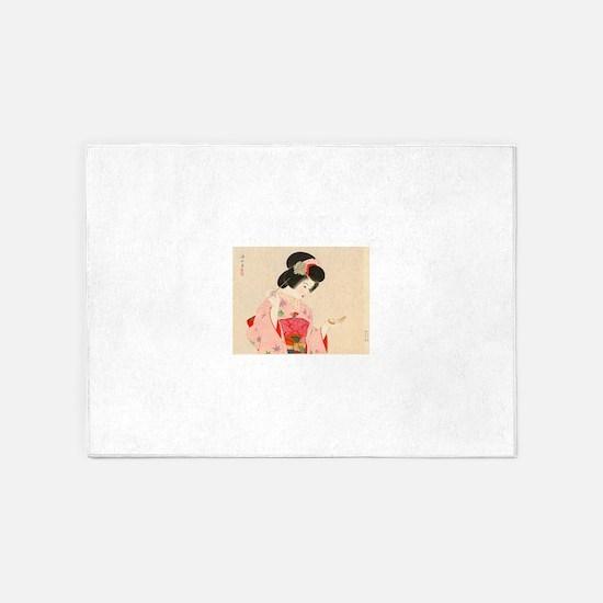 Vintage Japanese Geisha Lady Woman 5'x7'Area Rug