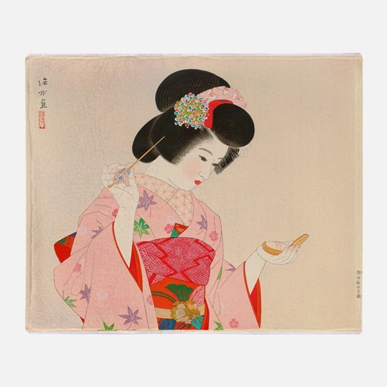 Vintage Japanese Geisha Lady Woman G Throw Blanket