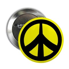 Peace Sign Button (black on yellow)