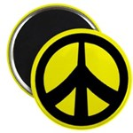 black on yellow peace sign magnet