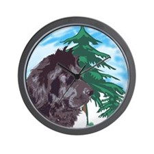 Newf with trees Wall Clock
