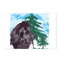 Newf with trees Postcards (Package of 8)