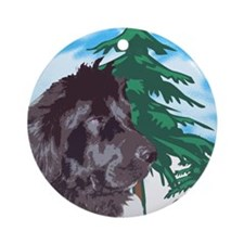 Newf with trees Ornament (Round)