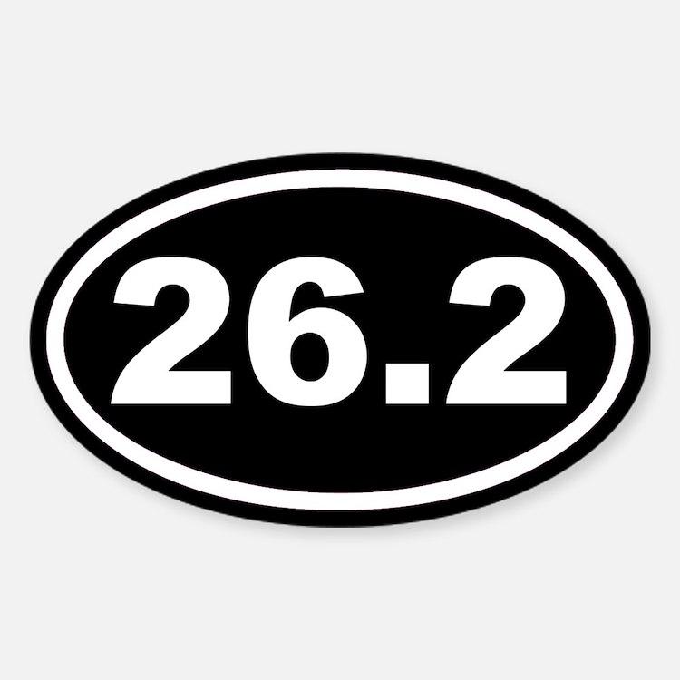 26.2 Marathon Running Oval Sticker (10 pk)