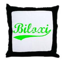 Vintage Biloxi (Green) Throw Pillow