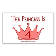 The Princess Is 4 Rectangle Decal
