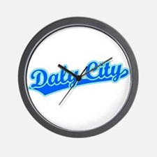 Retro Daly City (Blue) Wall Clock