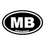 MB Myrtle Beach, SC Black Oval Sticker (10 pk)