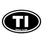 TI Topsail Island Black Euro Oval Sticker (50 pk)