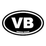 VB Virginia Beach, VA Black Stickers (Oval 10 pk)