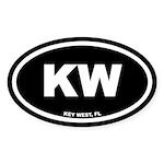 KW Key West, Fl Black Euro Oval Sticker (10 pk)