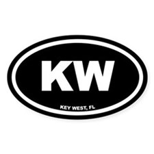 KW Key West, FL Black Euro Oval Decal