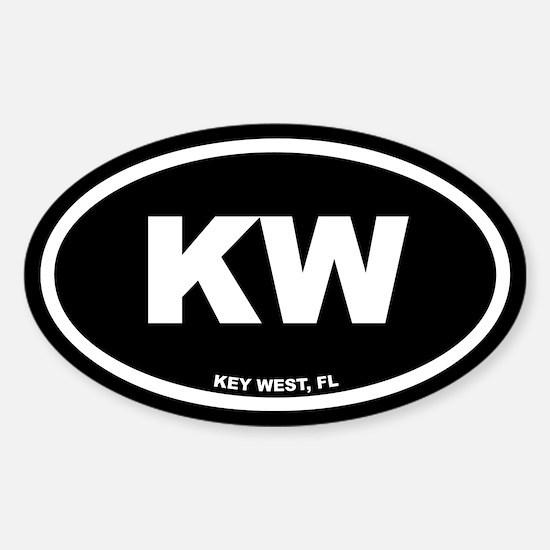 KW Key West, FL Black Euro Oval Decal