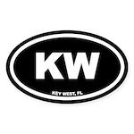 KW Key West, FL Black Euro Oval Sticker