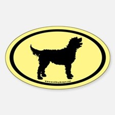 Labradoodle Oval (black/yellow) Oval Decal