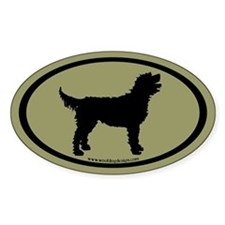Labradoodle Oval (blk/sage green) Oval Decal