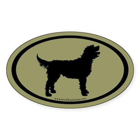 Labradoodle Oval (blk/sage green) Oval Sticker