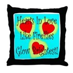 Firefly Hearts Throw Pillow