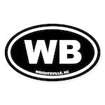 WB Wrightsville Beach, NC Black Oval Sticker