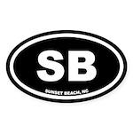SB Sunset Beach, NC Black Oval Sticker (10 pk)