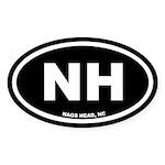 NH Nags Head, NC Black Oval Sticker (50 pk)