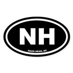 NH Nags Head, NC Black Euro Oval Sticker