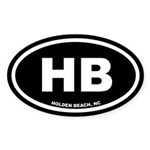 HB Holden Beach, NC Black Oval Sticker (50 pk)