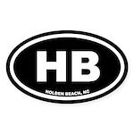 HB Holden Beach, NC Black Oval Sticker (10 pk)