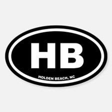 HB Holden Beach, NC Black Euro Oval Decal