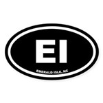 EI Emerald Isle, NC Black Oval Sticker (10 pk)