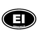 EI Emerald Isle, NC Black Oval Sticker