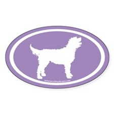 Labradoodle Oval (white/purple) Oval Decal