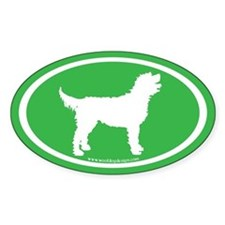 Labradoodle Oval (white on green) Oval Decal