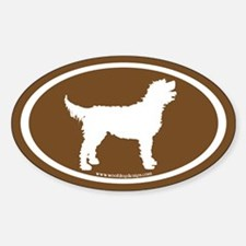 Labradoodle Oval (white on brown) Oval Decal