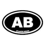 AB Atlantic Beach, NC Black Oval Sticker (10 pk)