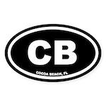 CB Cocoa Beach, Florida Black Oval Sticker (50 pk)