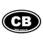 CB Cocoa Beach, Florida Black Oval Sticker (10 pk)