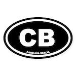 CB Carolina Beach, NC Black Oval Sticker (50 pk)