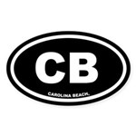CB Carolina Beach, NC Black Oval Sticker (10 pk)