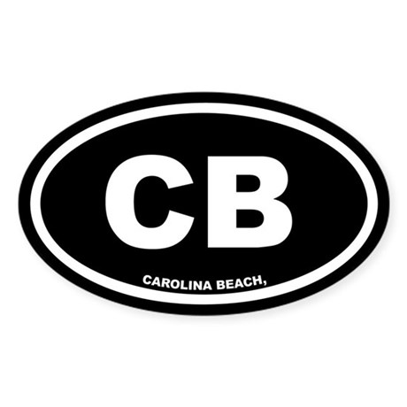 CB Carolina Beach, NC Black Oval Sticker