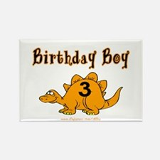 Birthday Boy 3 Dinosaur Rectangle Magnet