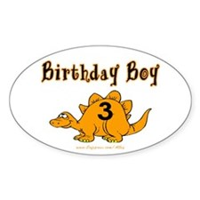 Birthday Boy 3 Dinosaur Oval Decal