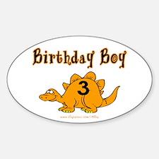 Birthday Boy 3 Dinosaur Oval Decal