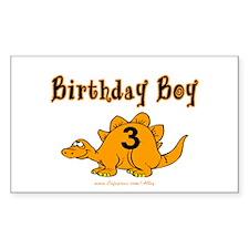Birthday Boy 3 Dinosaur Rectangle Decal