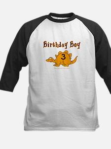 Birthday Boy 3 Dinosaur Kids Baseball Jersey
