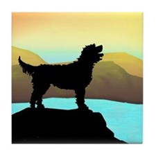 Labradoodle By The Sea Tile Coaster